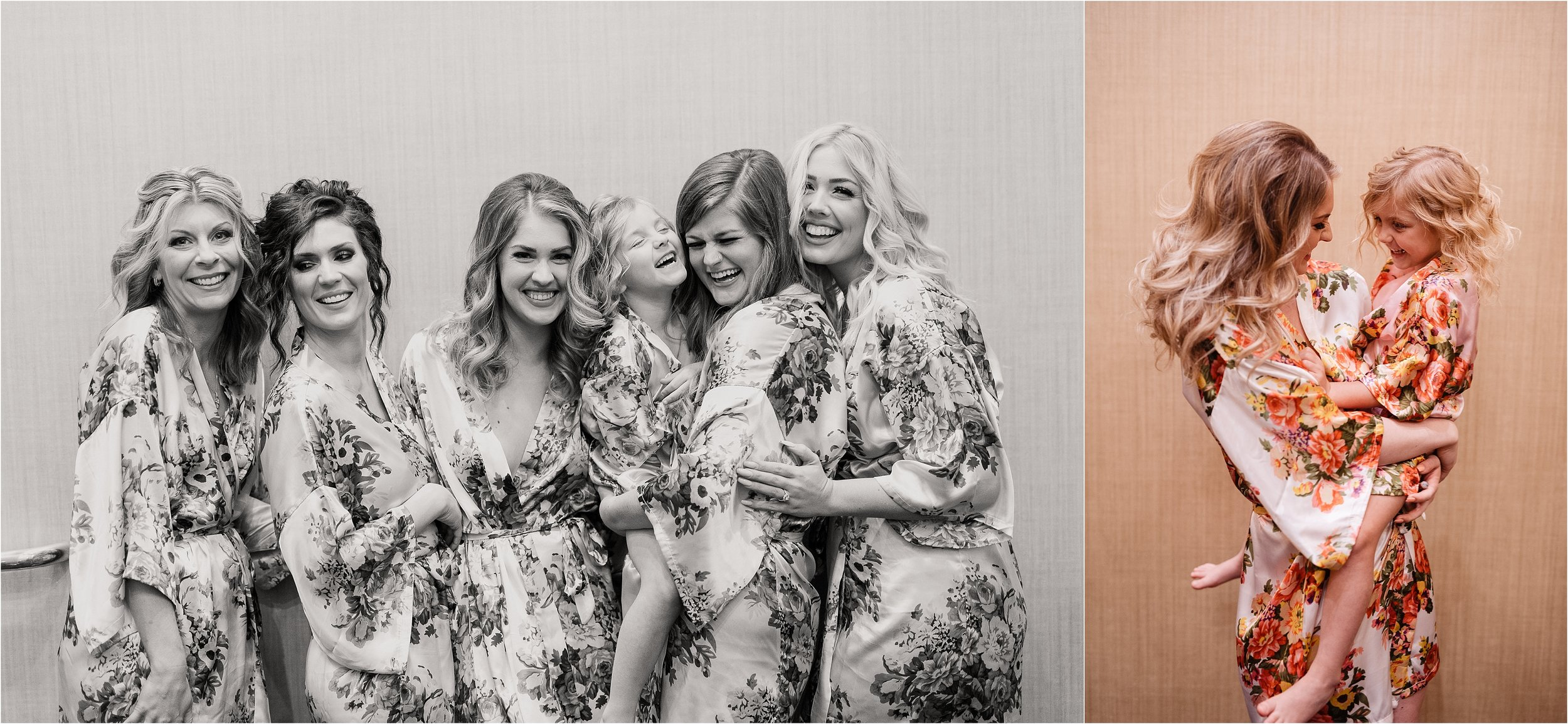 oklahoma wedding photographer hair makeup robes matching outfits bridal party getting ready bridesmaids maid of honor dressing buttons lace mother of bride black&white black white flower girl