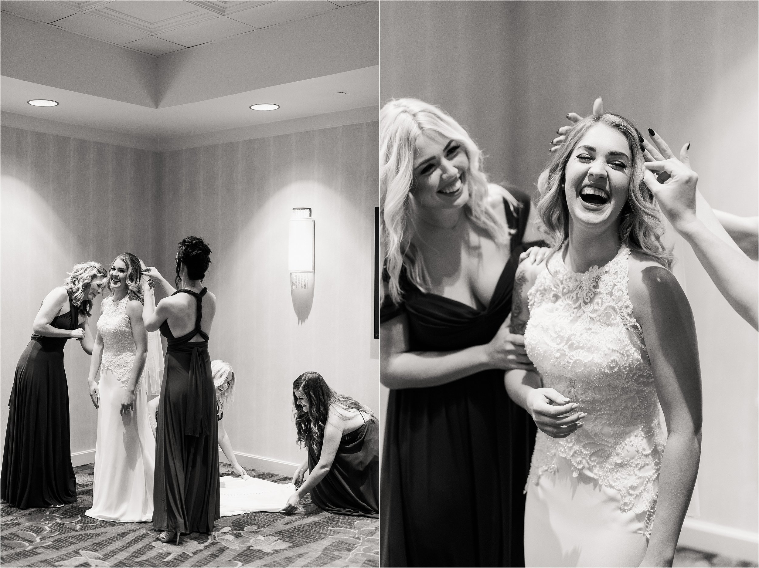 oklahoma wedding photographer hair makeup robes matching outfits bridal party getting ready bridesmaids maid of honor dressing buttons lace mother of bride black white black&white