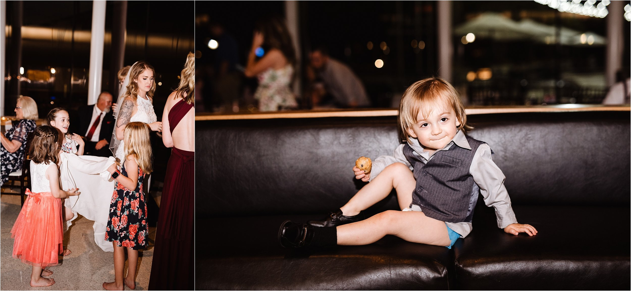 oklahoma wedding photographer reception family friends hugs congratulations best wishes toasts baby kid dancing fun