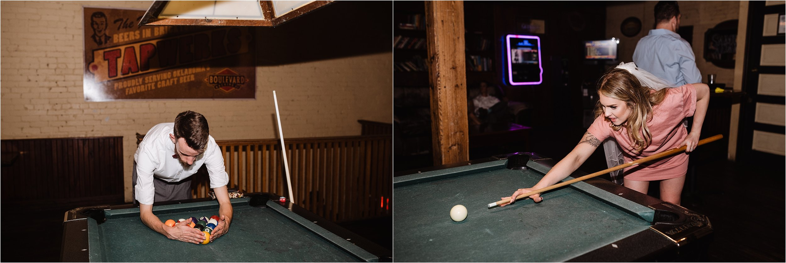 wedding party bride groom bridesmaids groomsmen after party pool shooting playing cue balls stick chalk drinking beer party celebration congratulations wedding day