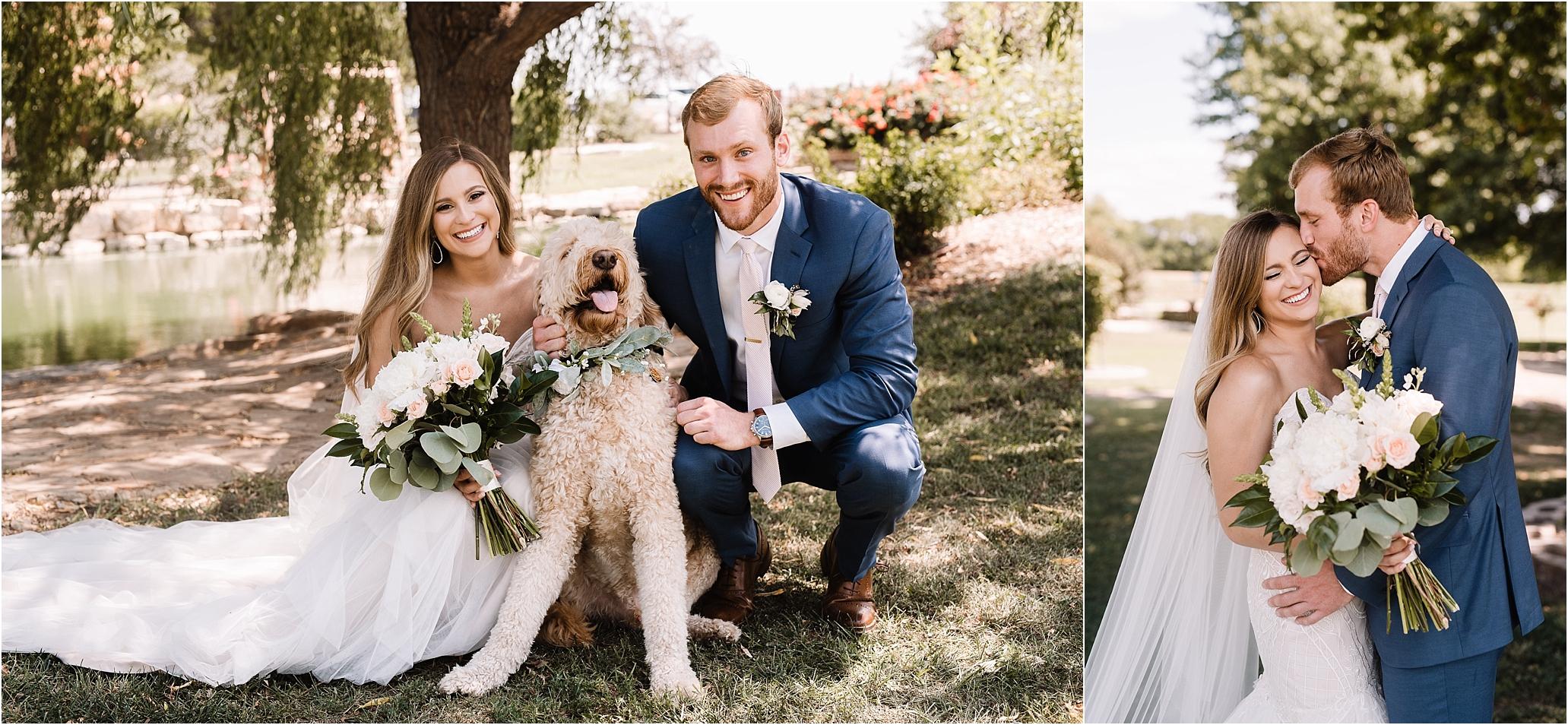 oklahoma wedding photographer bride groom wedding day outside wichita wedding photographer bridal bouquet blue suit dog pet goldendoodle