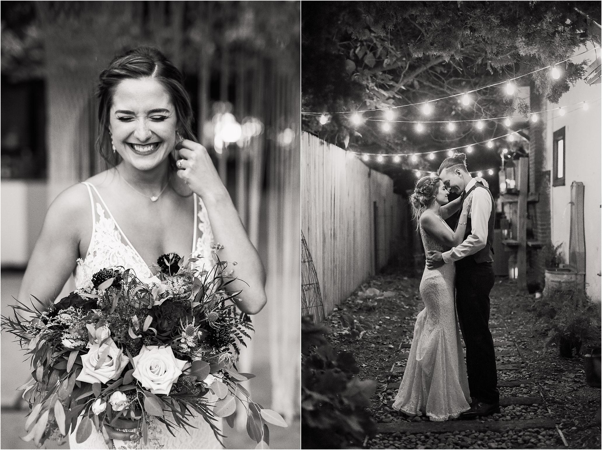 oklahoma wedding photographer bride groom wedding day outside bridal bouquet wedding flowers dancing black&white black white lights string lights