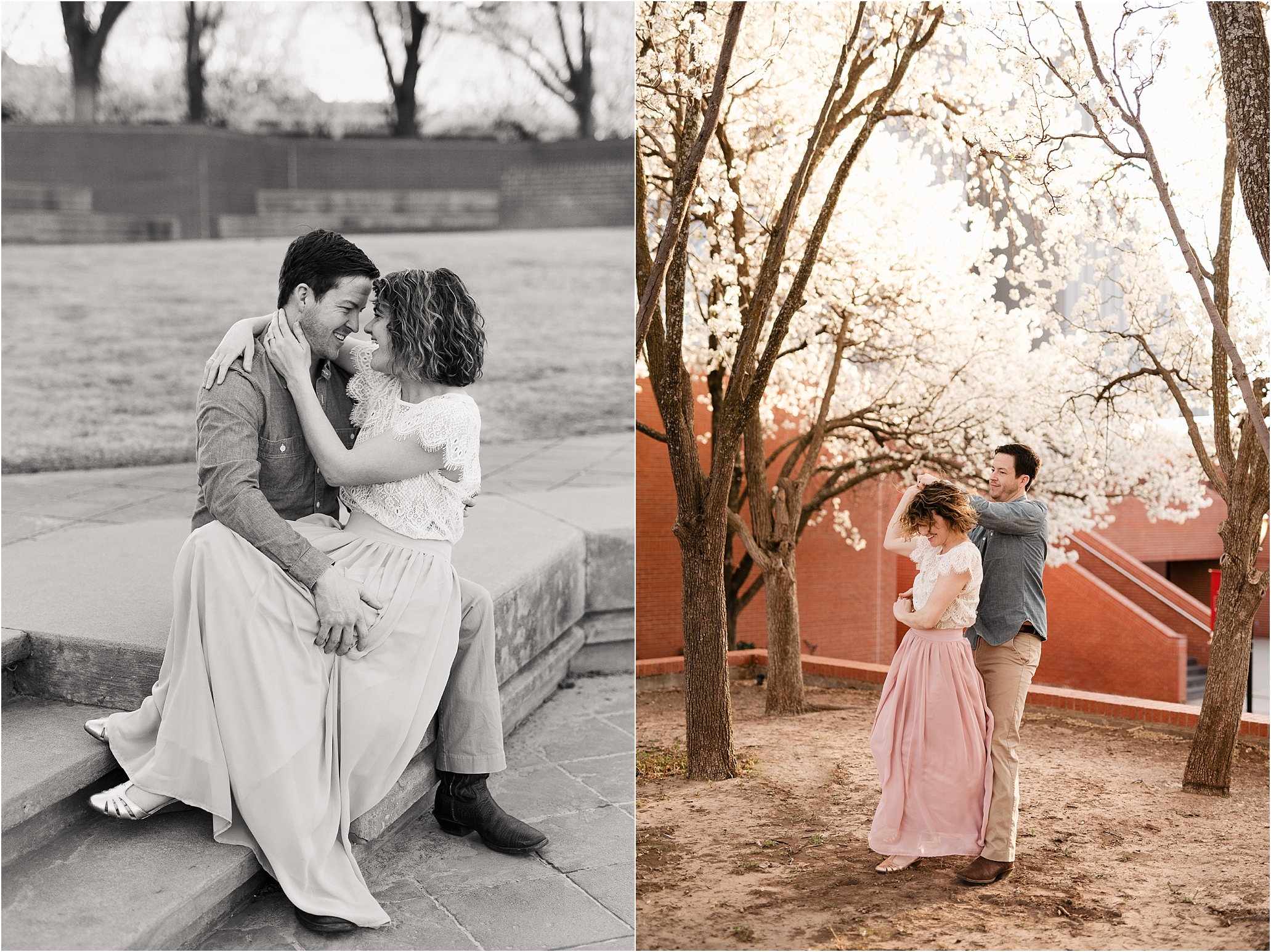 engagement photos session oklahoma wedding photographer outdoors spring edmond okc anniversary what to wear natural black white and black&white