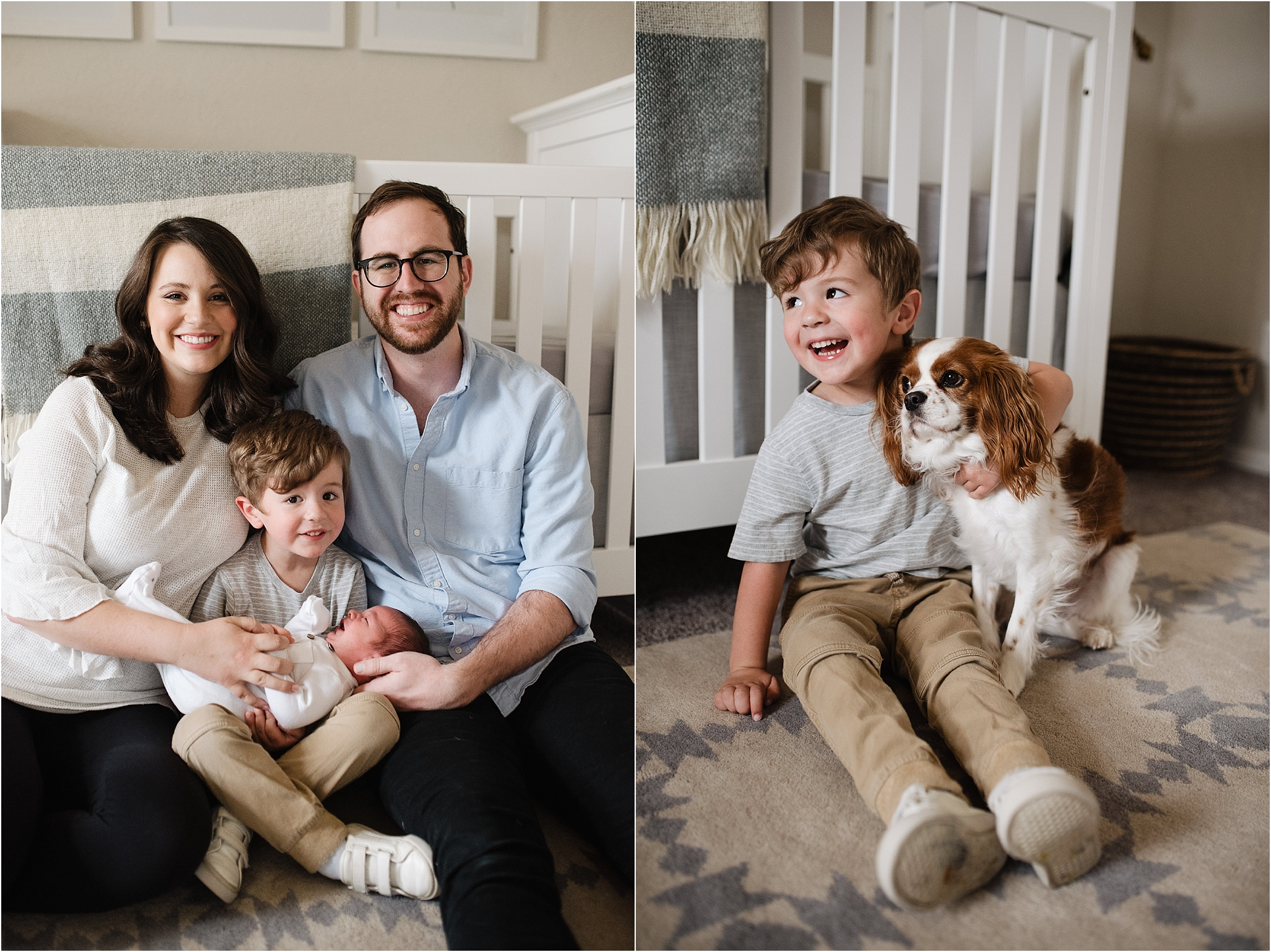 newborn photo oklahoma family photographer children kids extended family growing babies baby home crib parents mom dad okc norman edmond birth dog puppy animals cavalier king charles spaniel