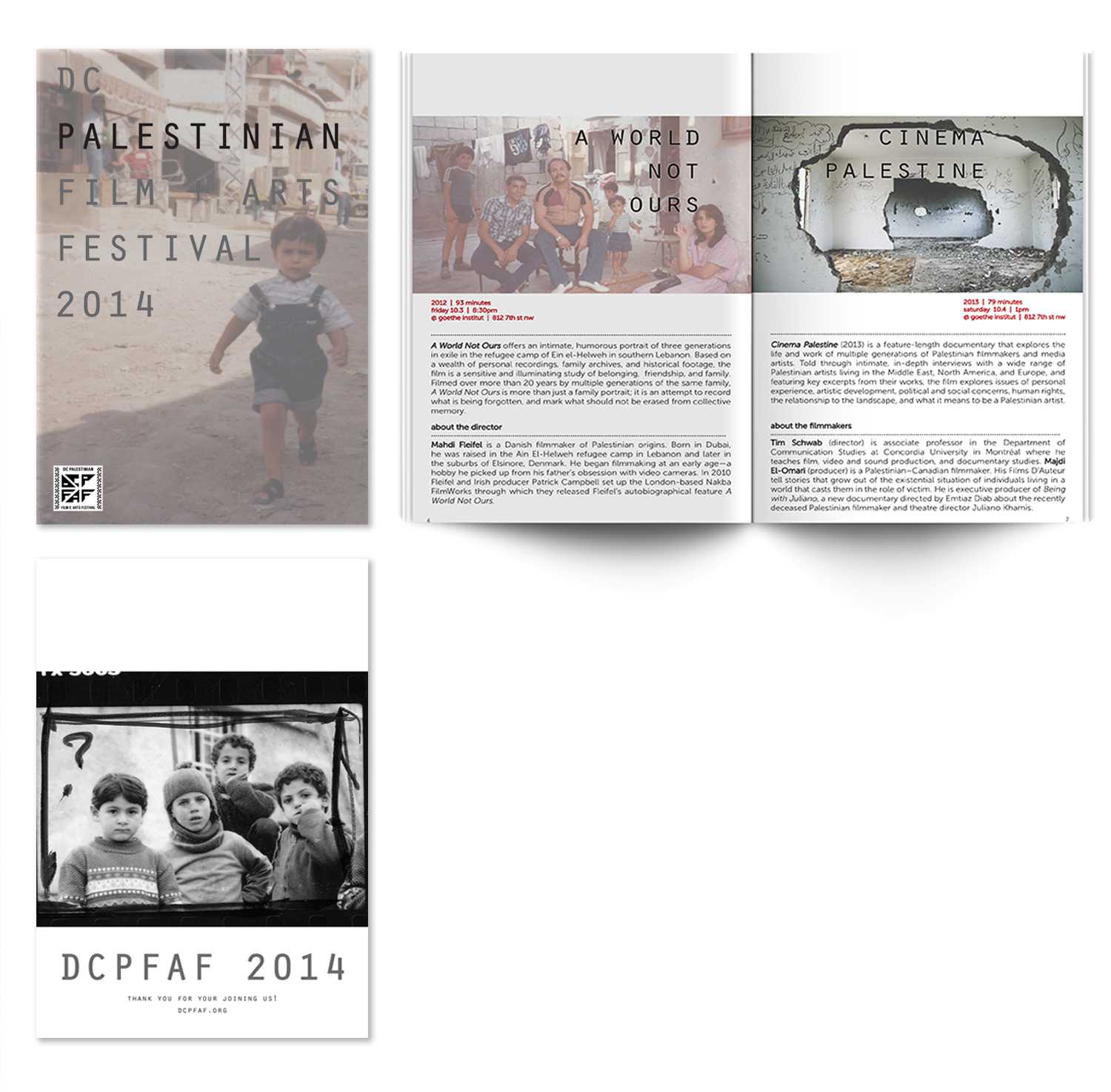 2014 | program  DCPFAF 2014 was a tribute to the children of Gaza who perished in the Israeli offensive, 'Operation Protective Edge' just two months earlier. I designed the program as a tribute to them as well.