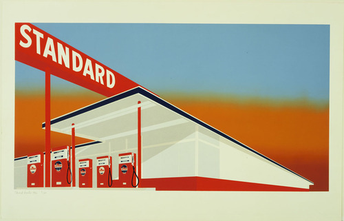 Photo credits linked: MOMA: Print of Standard Station by Ed Ruscha 1966