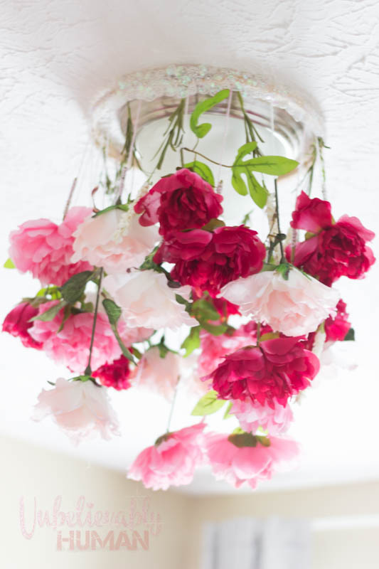 DIY Flower Chandelier with Faux Flowers