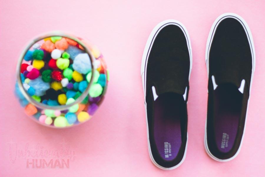 pom pom palls puff balls tennis shoes