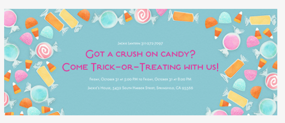 I used this  EVITE Free Halloween Invitation found here  with lots of other cute Invitations for the Holiday! Go Look!