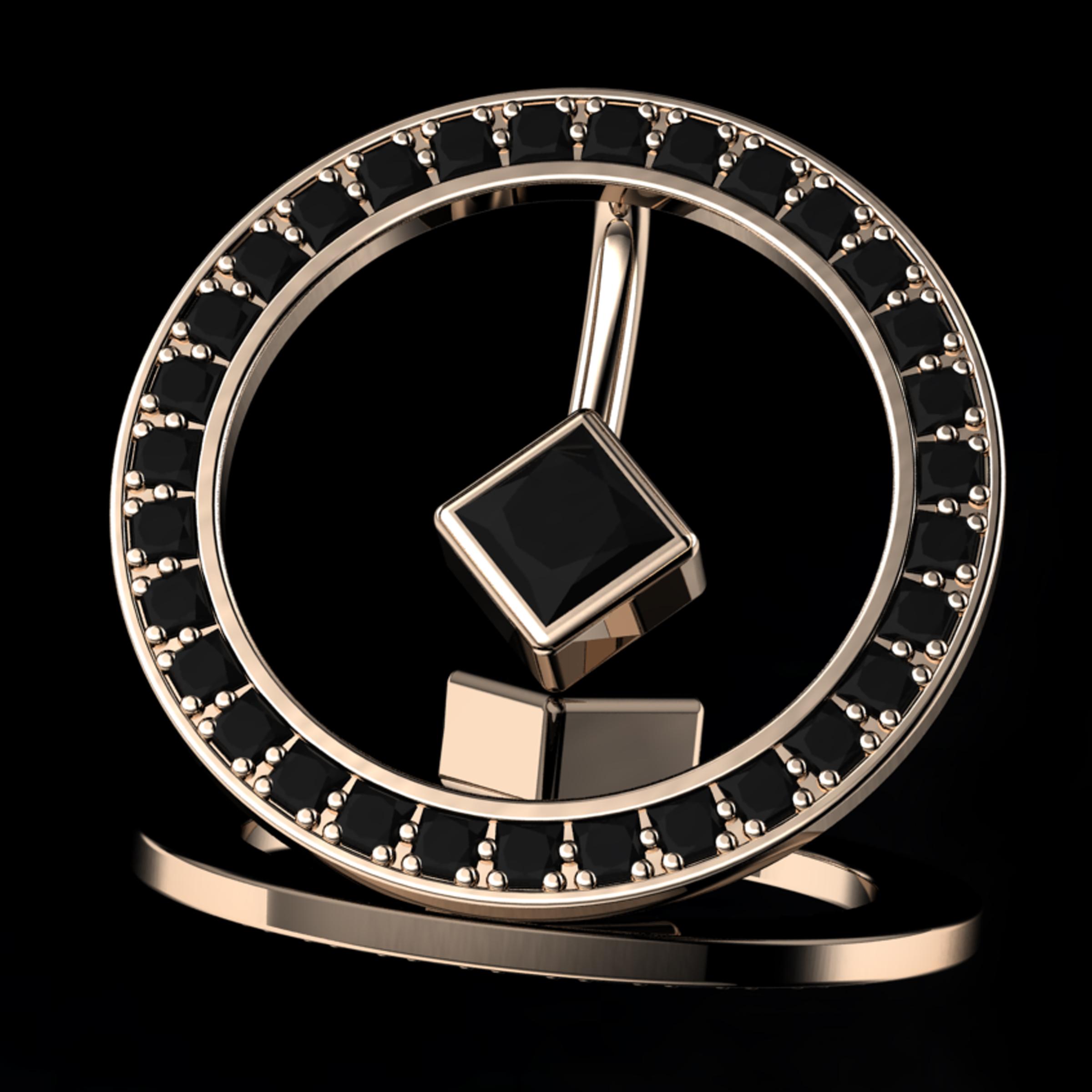 'ETERNO BRILLIANT'®  Natural BlackPrincess-Cut Diamonds • 1.55 Carats • 18K Rose Gold