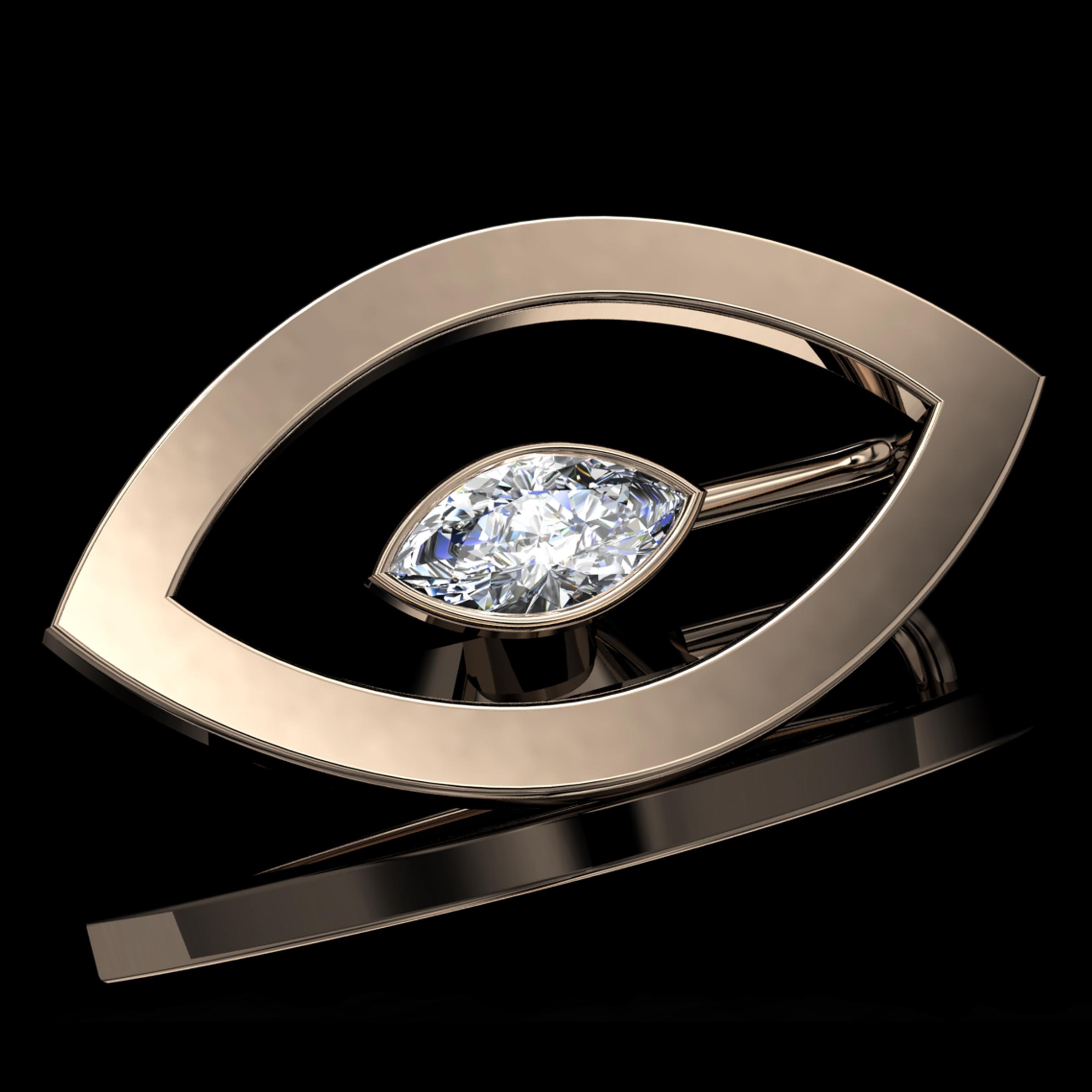 'ETERNO MARQ'®  Natural Marquise-Cut Diamond • 0.55 Carats • F / VVS2 (G.I.A) • 18K Rose Gold