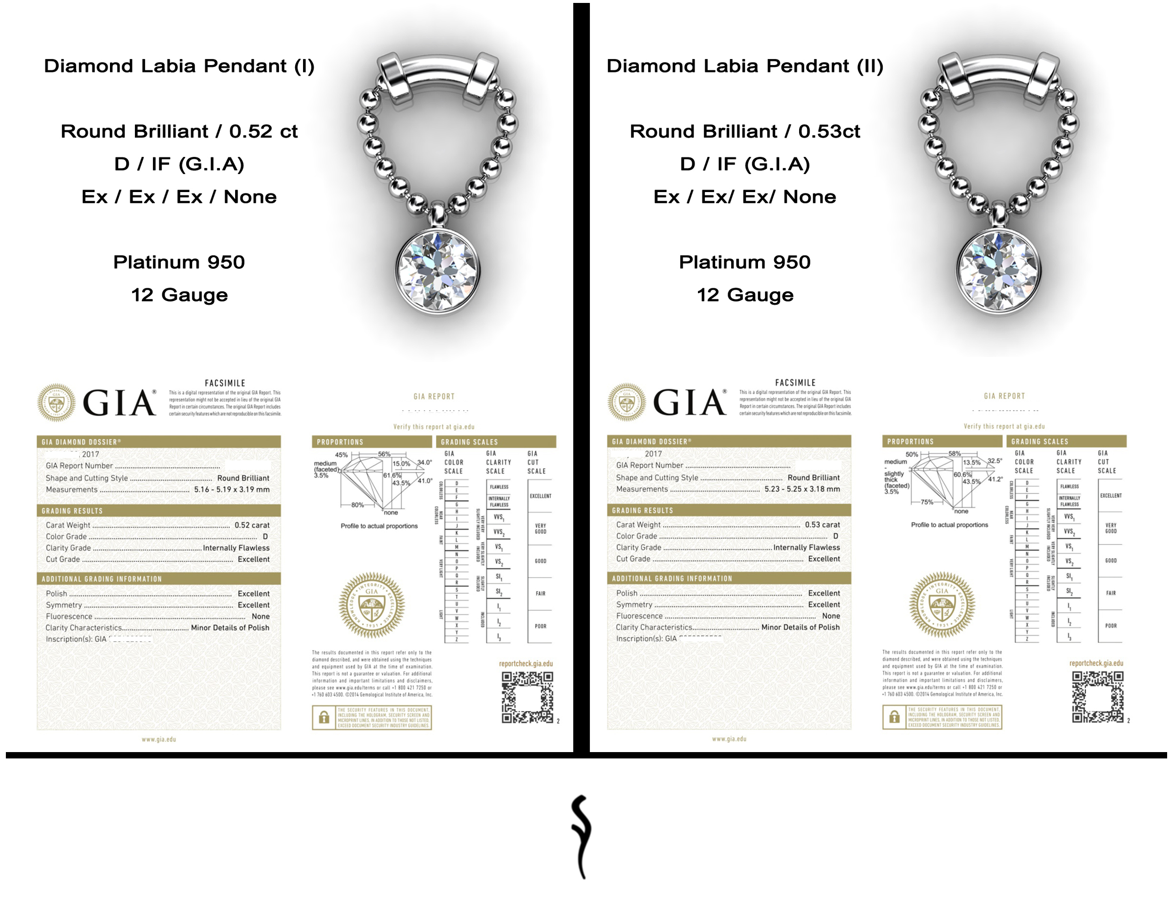 Diamond Labia Pendants  Natural Brilliant-Cut Diamonds • D / Internally Flawless (G.I.A) • Platinum (Pt.950)