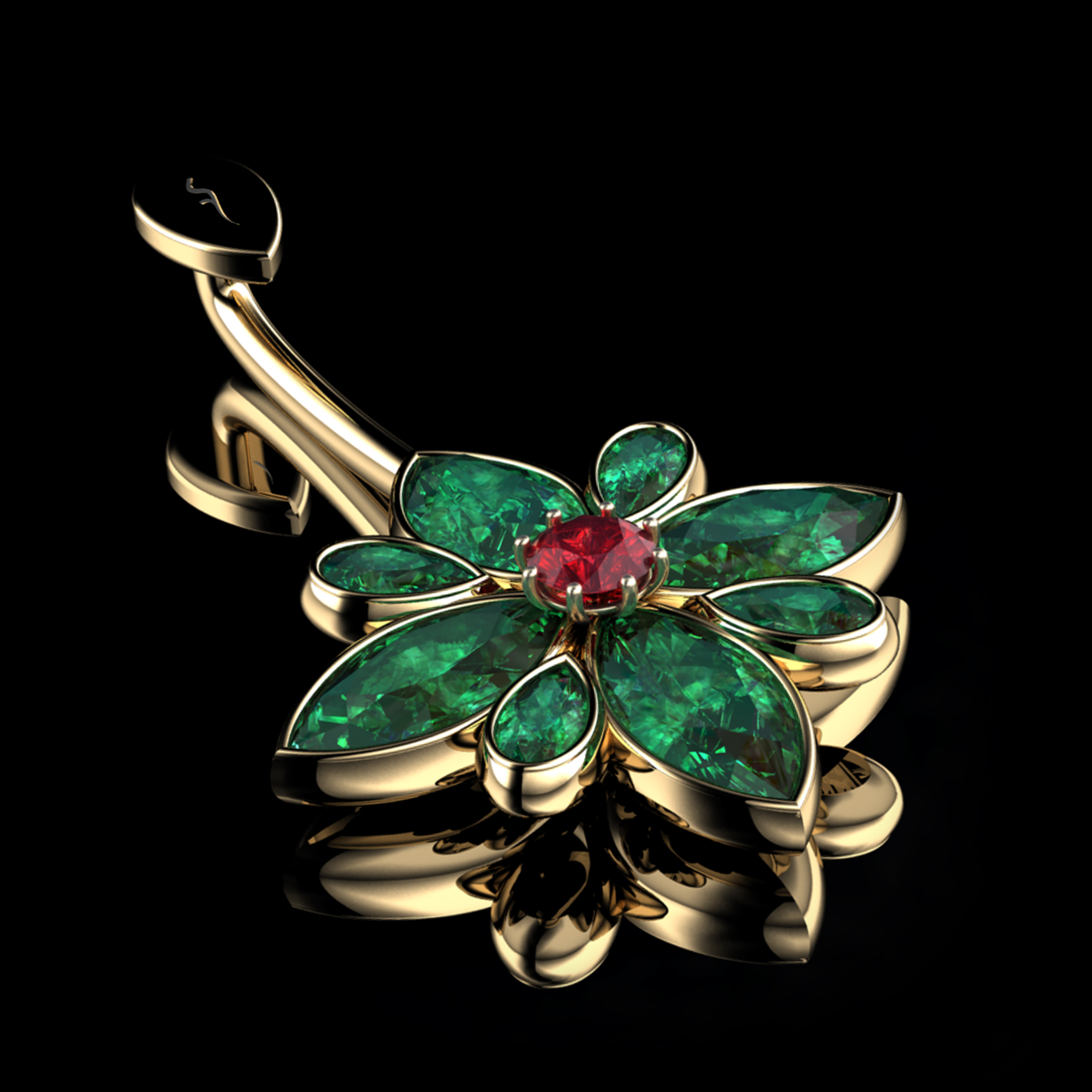 Natural Colombian Emeralds & Fire Ruby  •  1.76 Carats  •  18K Yellow Gold