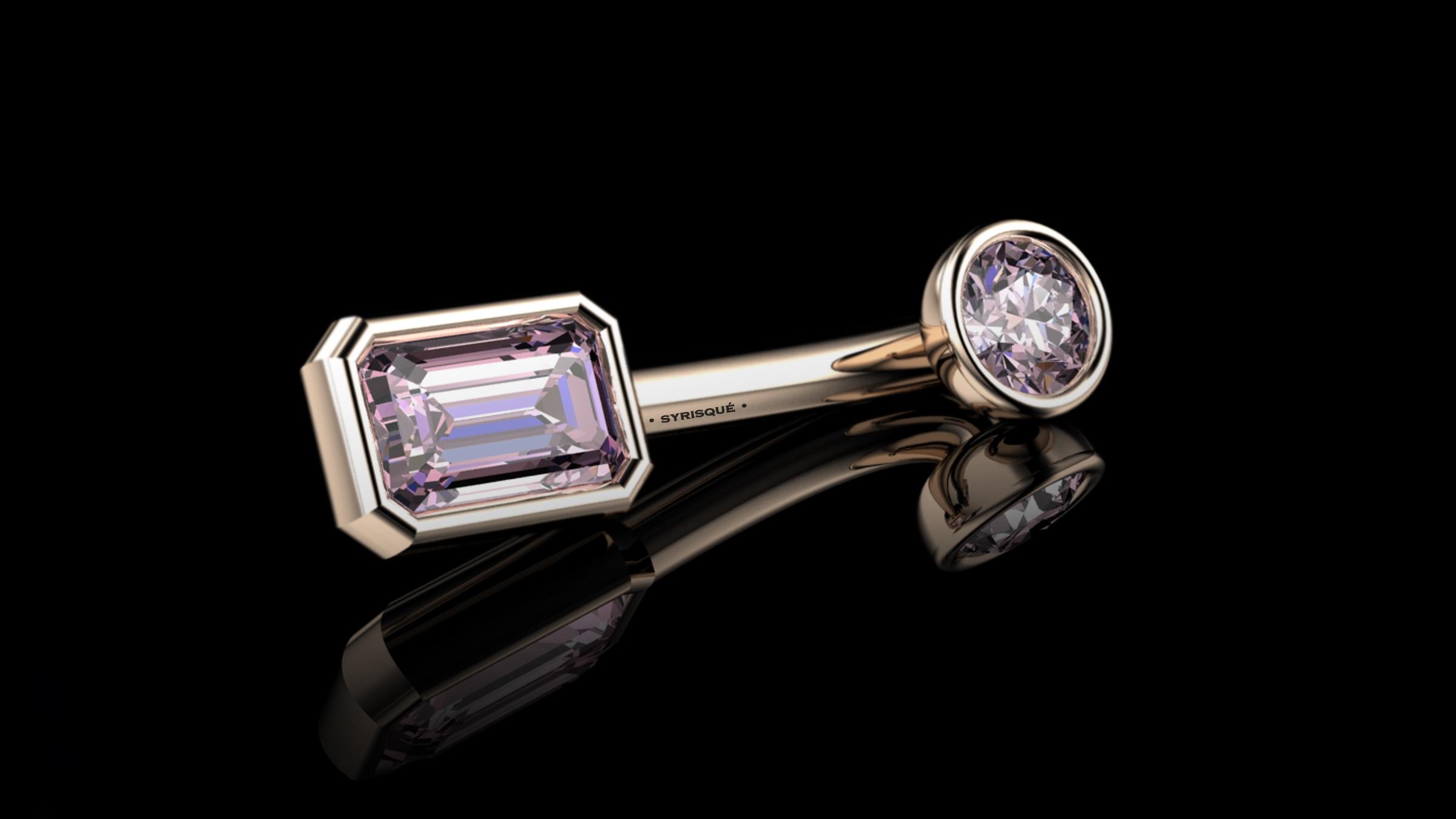 • Custom V.C.H • Vivid Pink Diamonds & 18K Rose Gold Piercing