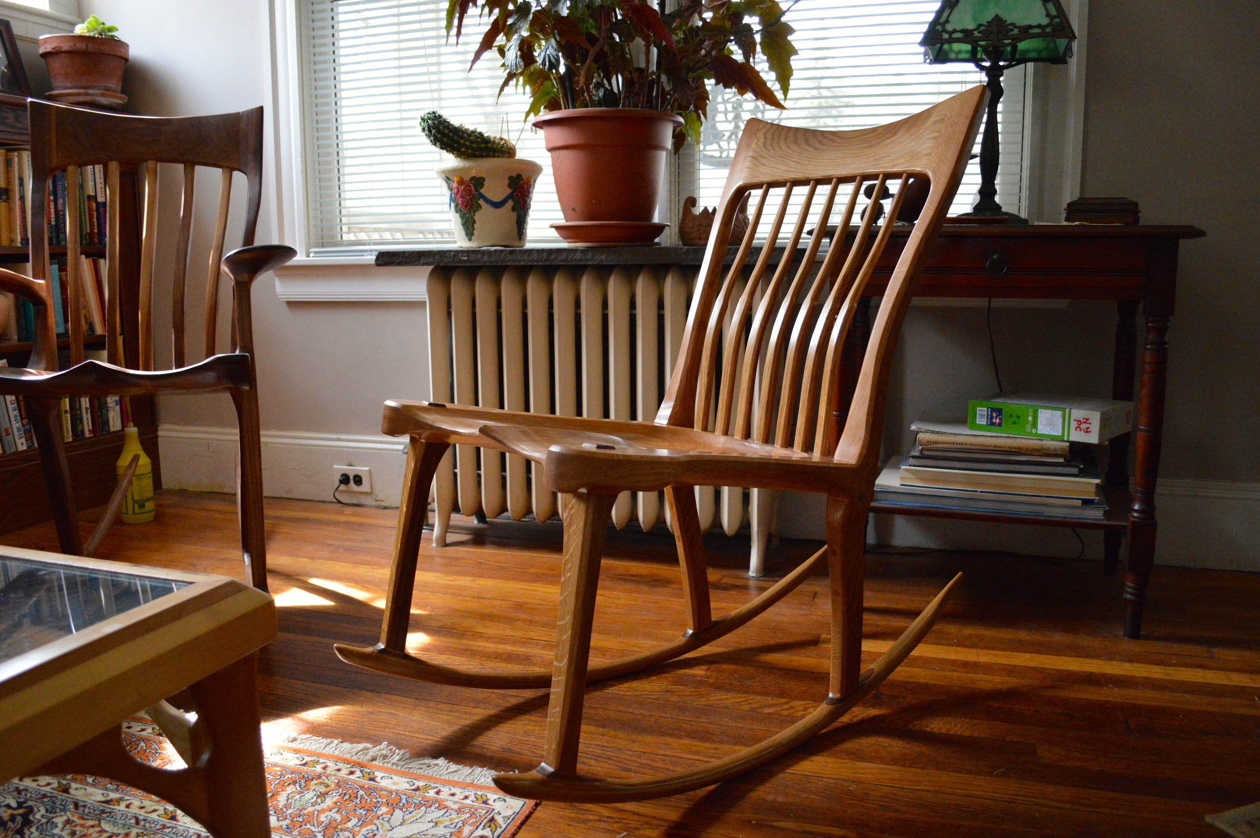 white oak armless rocker