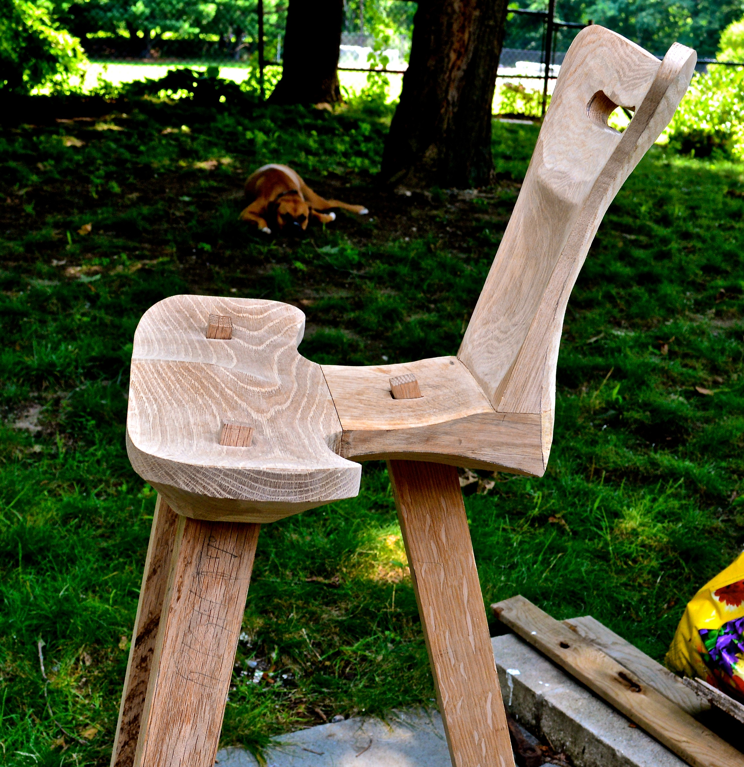 roughed out 3 legged oak stool