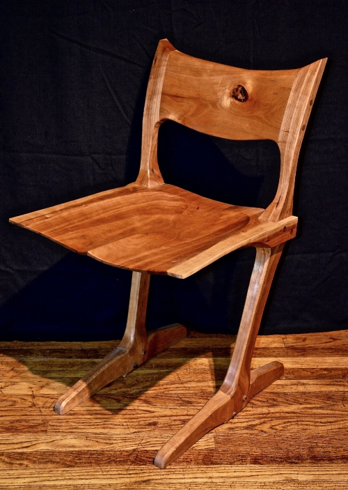 my take on George Nakashima's conoid chair- low backed in cherry