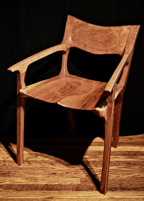 low backed occasional chair in cherry