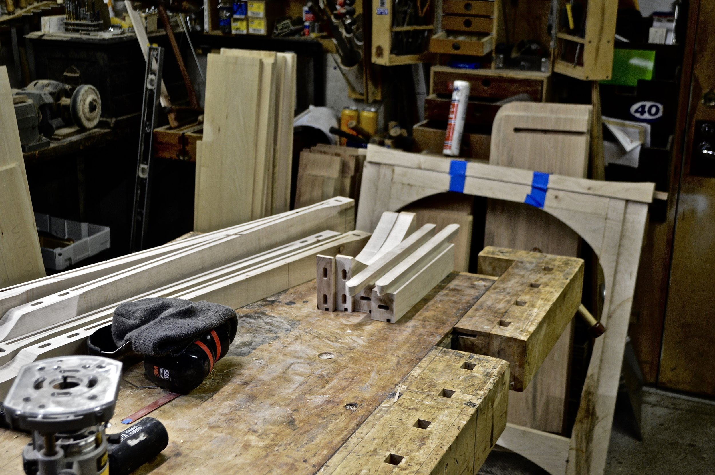 legs and side rails on the bench