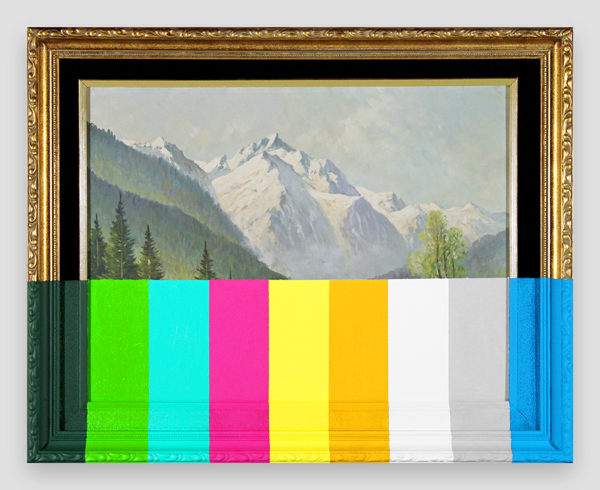 An-Alpine-Landscape-With-Color-Bars---paint-on-found-painting-and-frame---2014---15,75-x-19,75-x-1---009.jpg