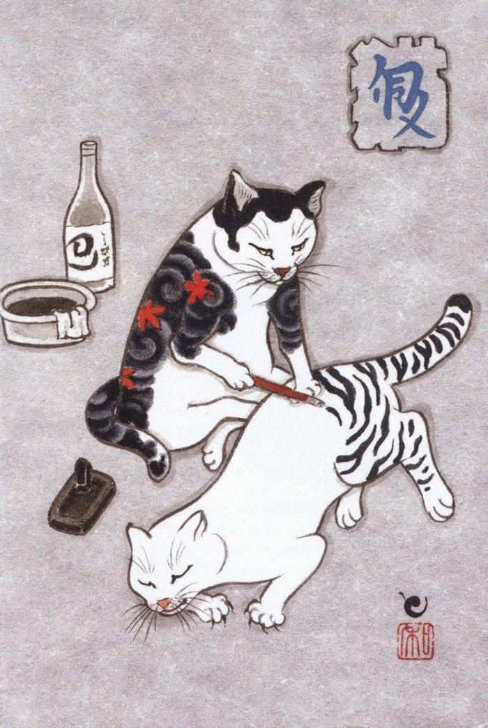 japanese-tattoo-paintings-monmon-cats-kazuaki-horitomo-9.jpg