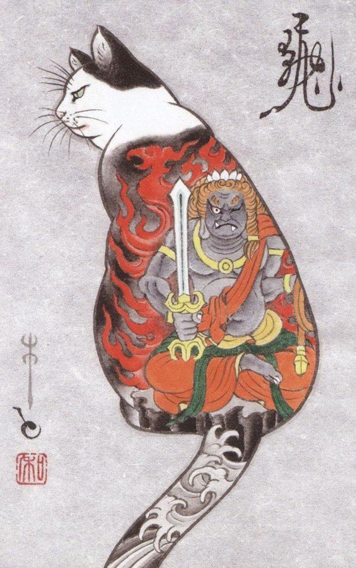 japanese-tattoo-paintings-monmon-cats-kazuaki-horitomo-13.jpg