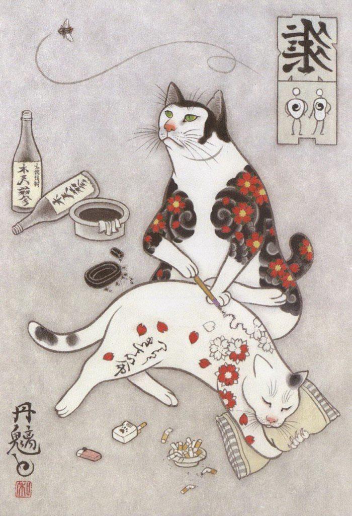 japanese-tattoo-paintings-monmon-cats-kazuaki-horitomo-36.jpg