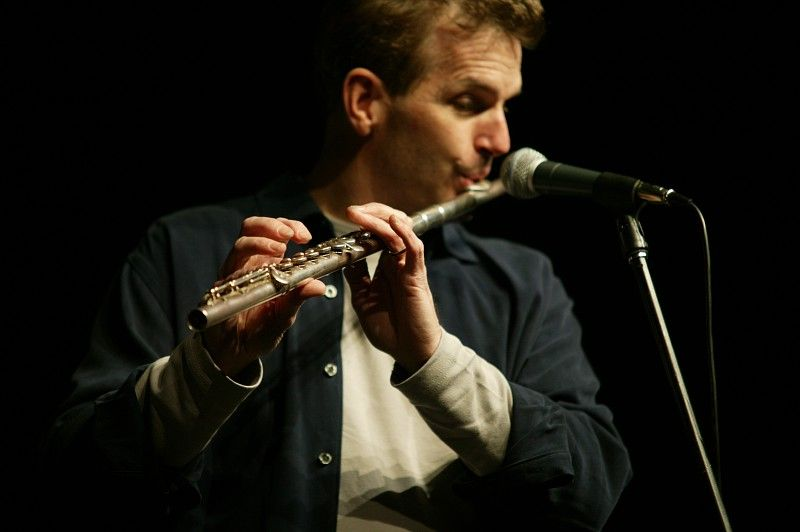 Mark Greel playing flute in Boston