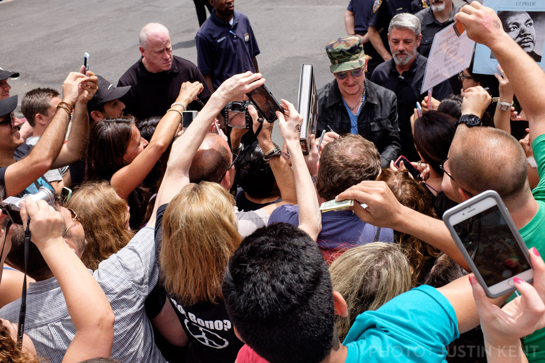 Bono arrives for soundcheck