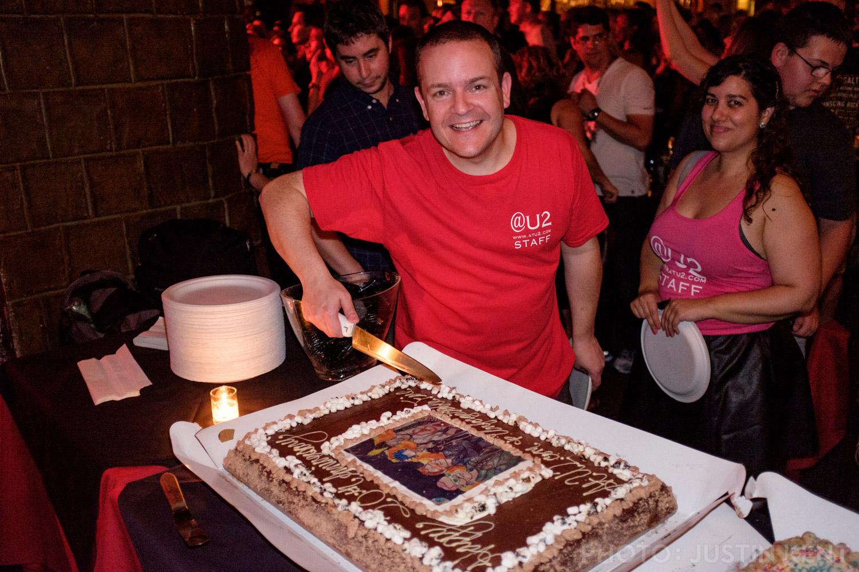 Matt cuts the cake