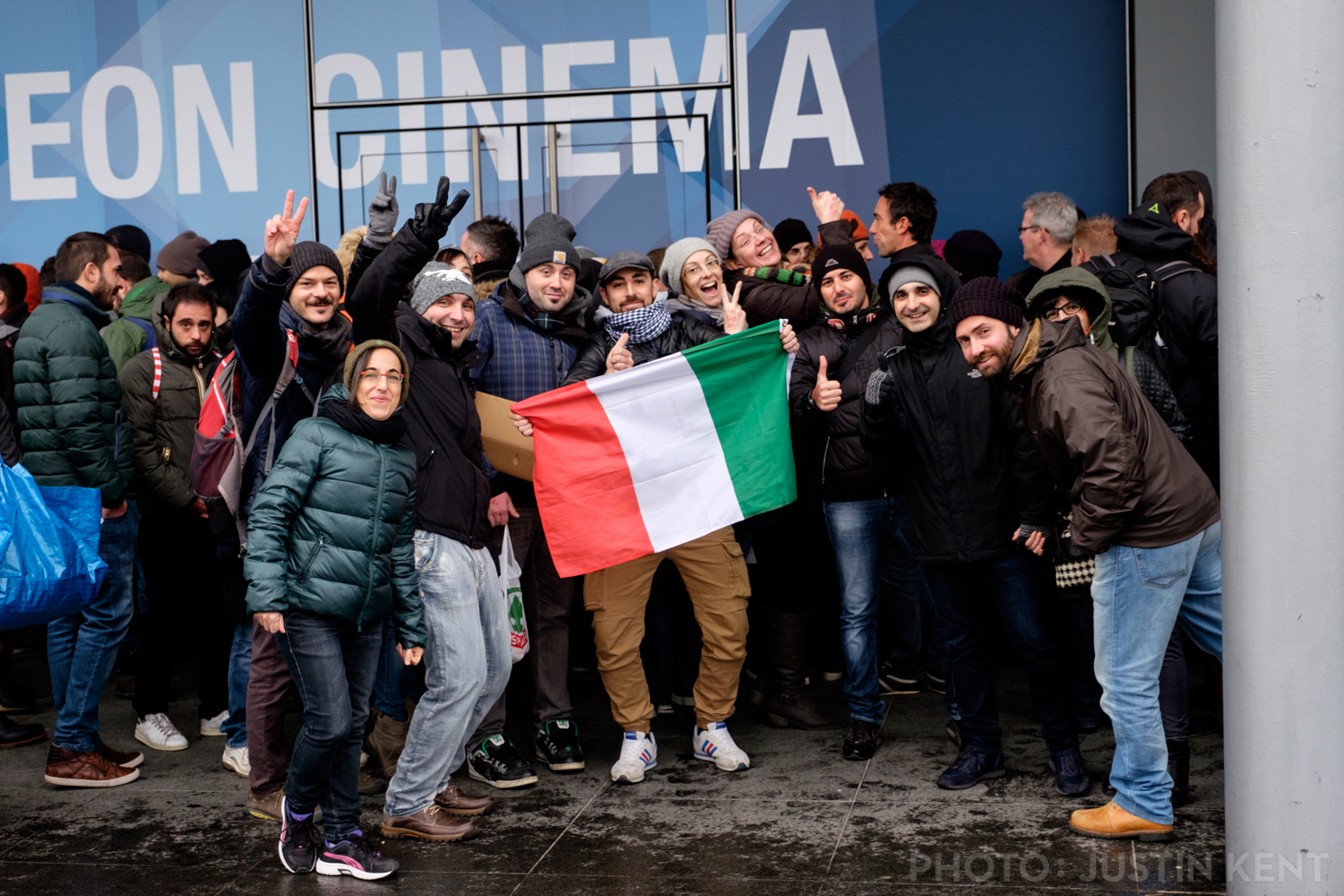 Italian fans in the general admission line