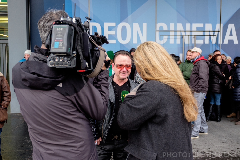 Local news interviewing Bono impersonator