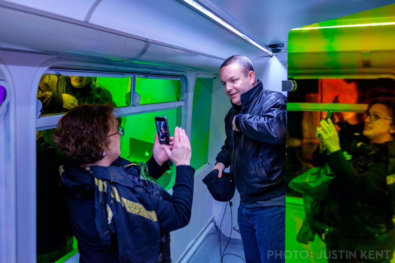"""Matt & Sherry of atu2.com """"experiencing"""" the VR bus"""
