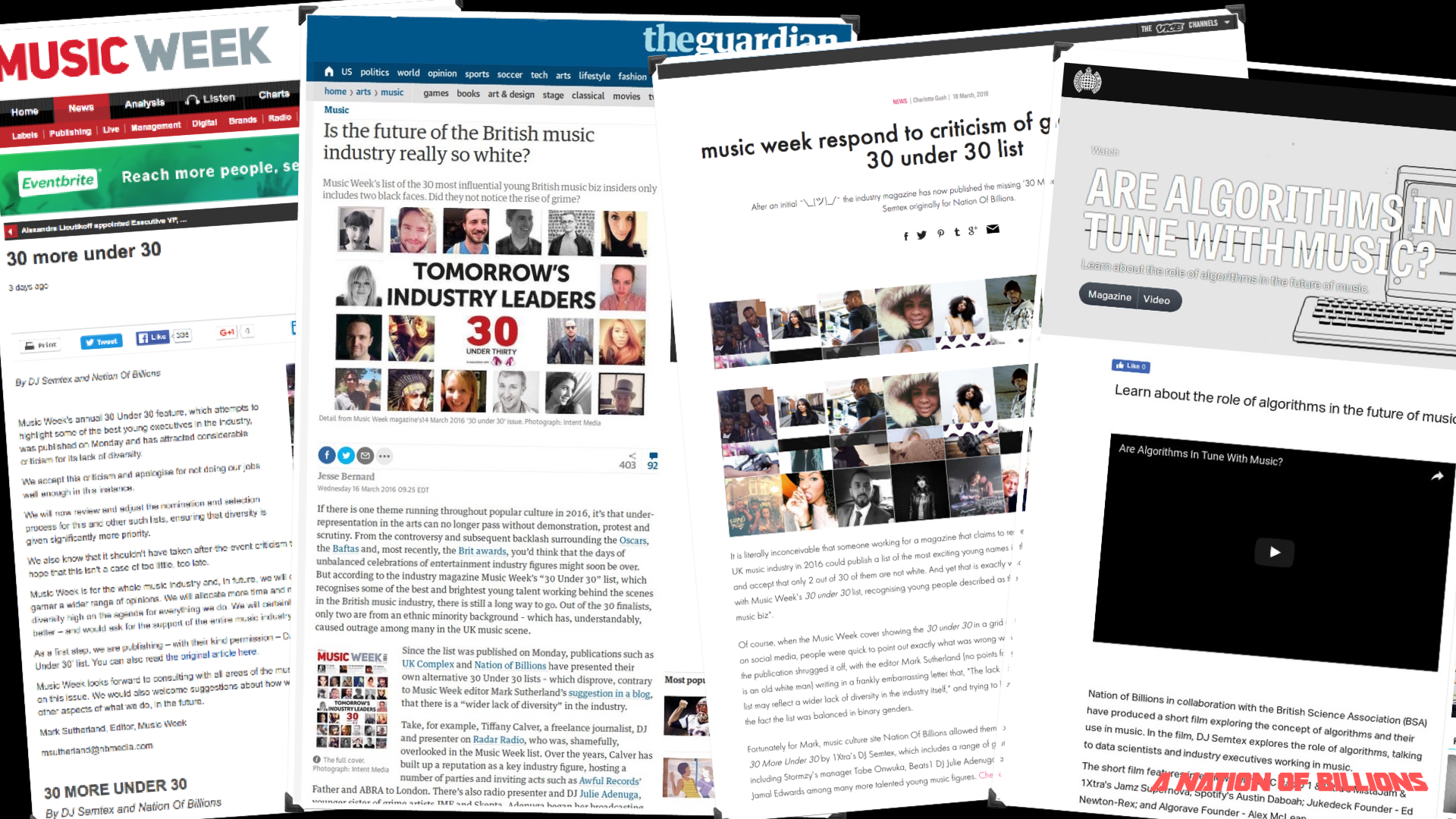 PRESS COVERAGE IN RESPONSE TO THE '30 MORE UNDER 30' ARTICLE