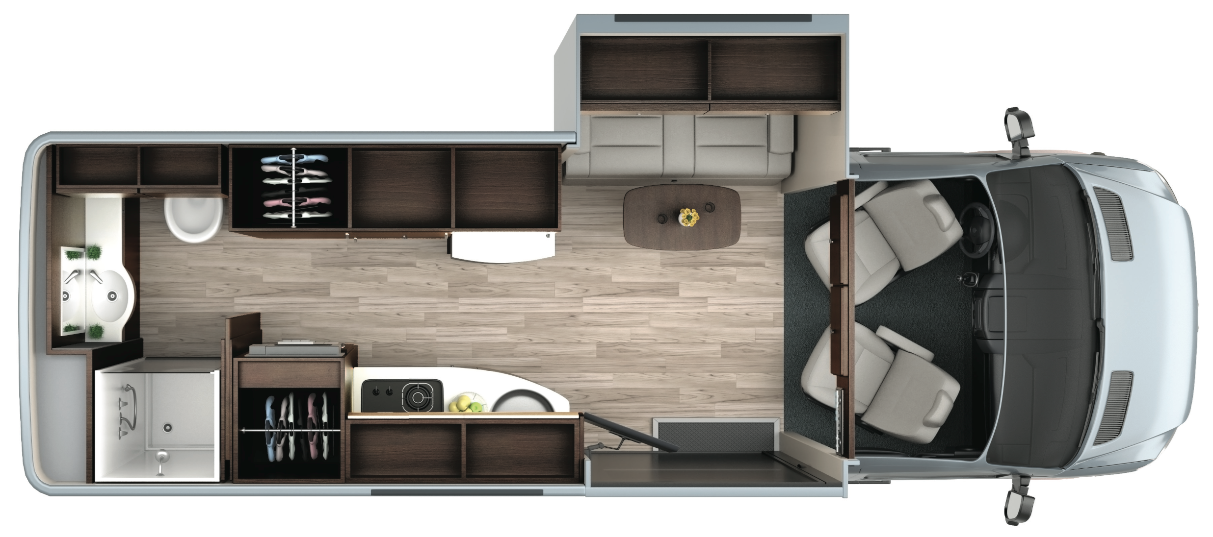 The LTV Free Spirit SS floorpan showing the interior storage areas in dark brown, plus an outside storage area accessible from the rear doors. The slide-out has storage cabinets above the sofa that converts to a bed.