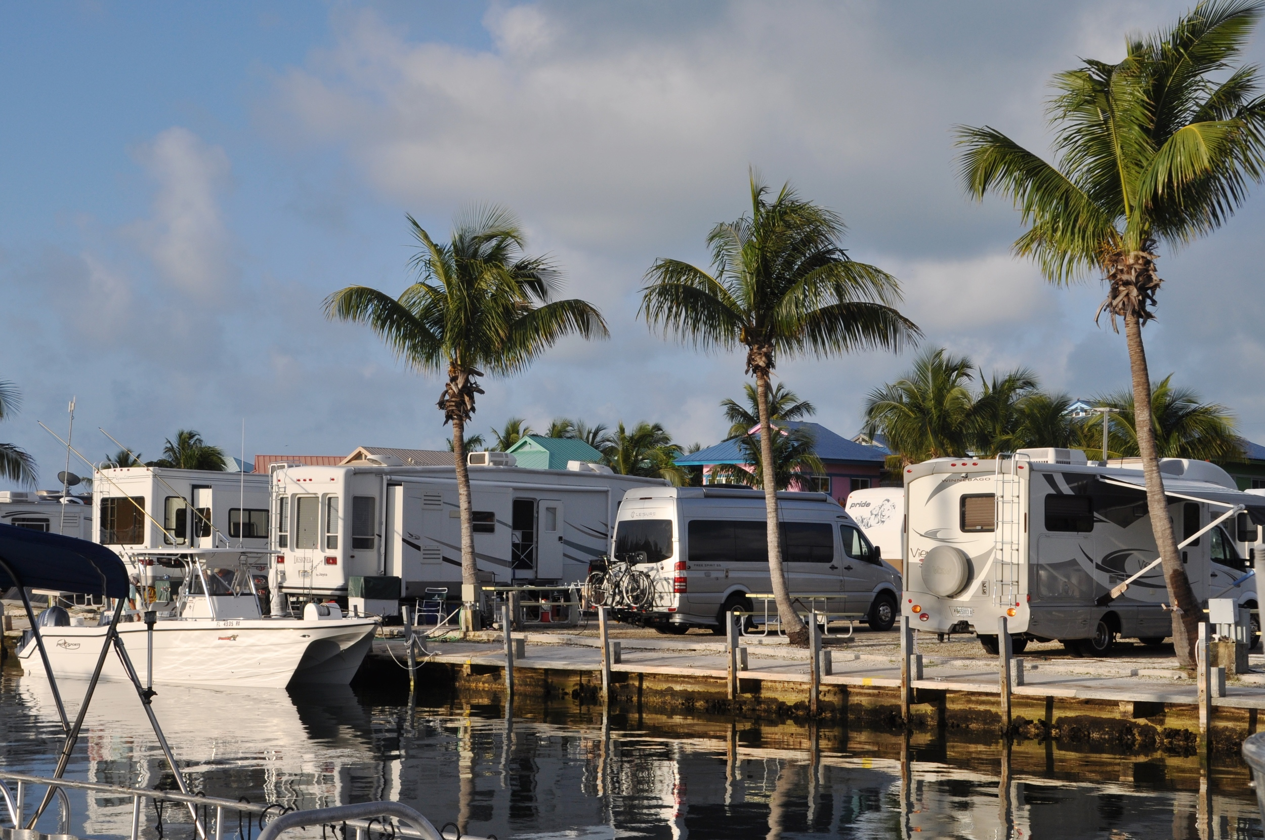 Our campsite at a harbor on Knights Key (that's us behind the middle palm tree)