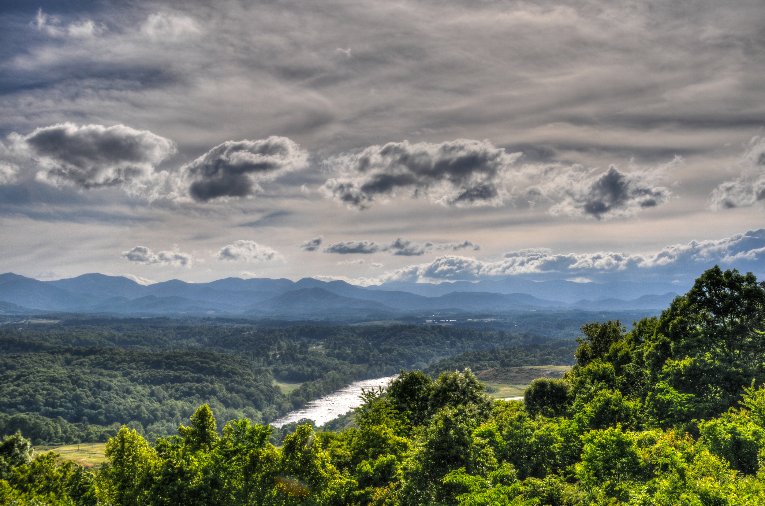 View from our campsite overlooking the Blue Ridge Mountains and the French Broad River north of Asheville, North Carolina