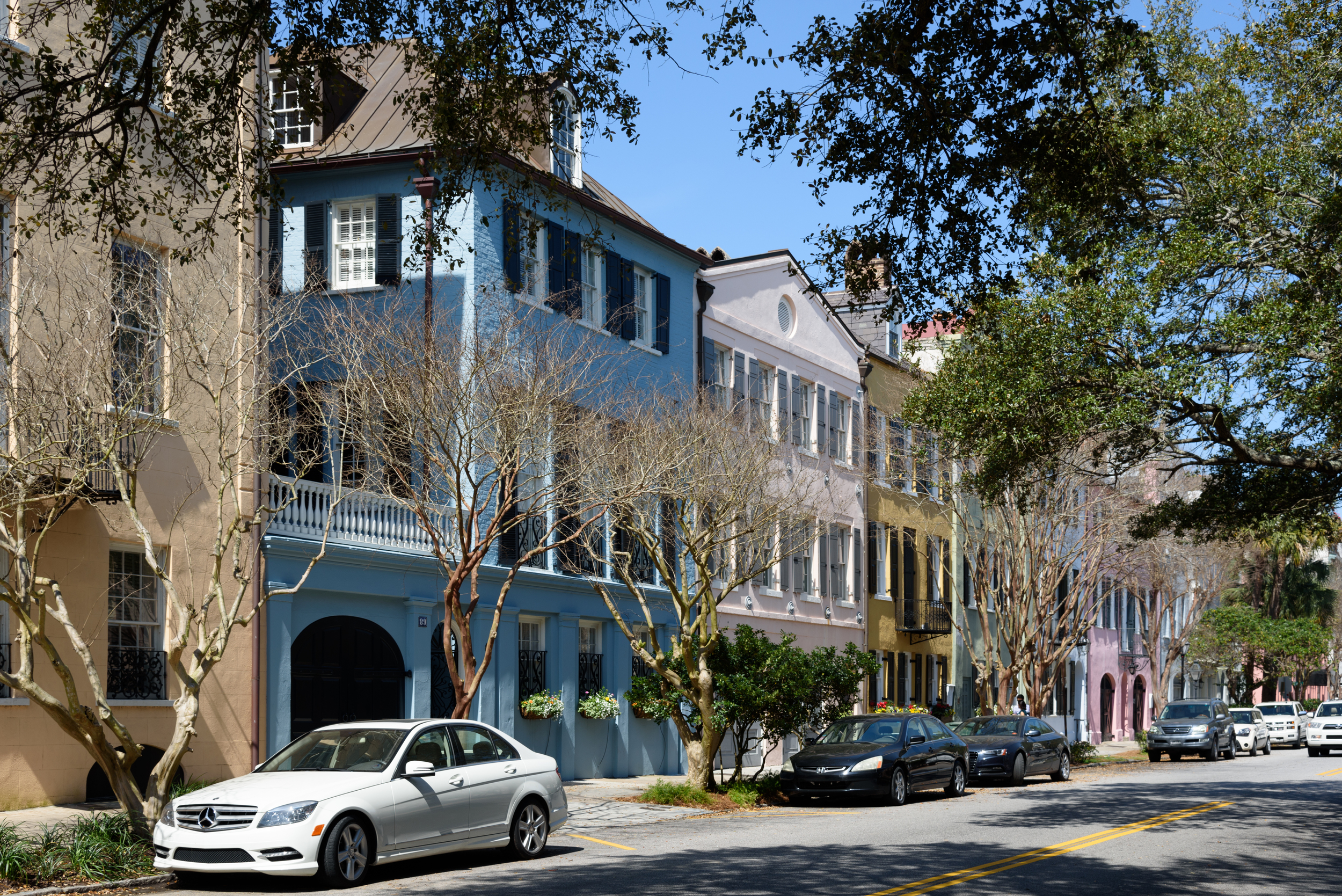 """Rainbow Row,"" the colorful Georgian houses on Charleston's East Bay Street"