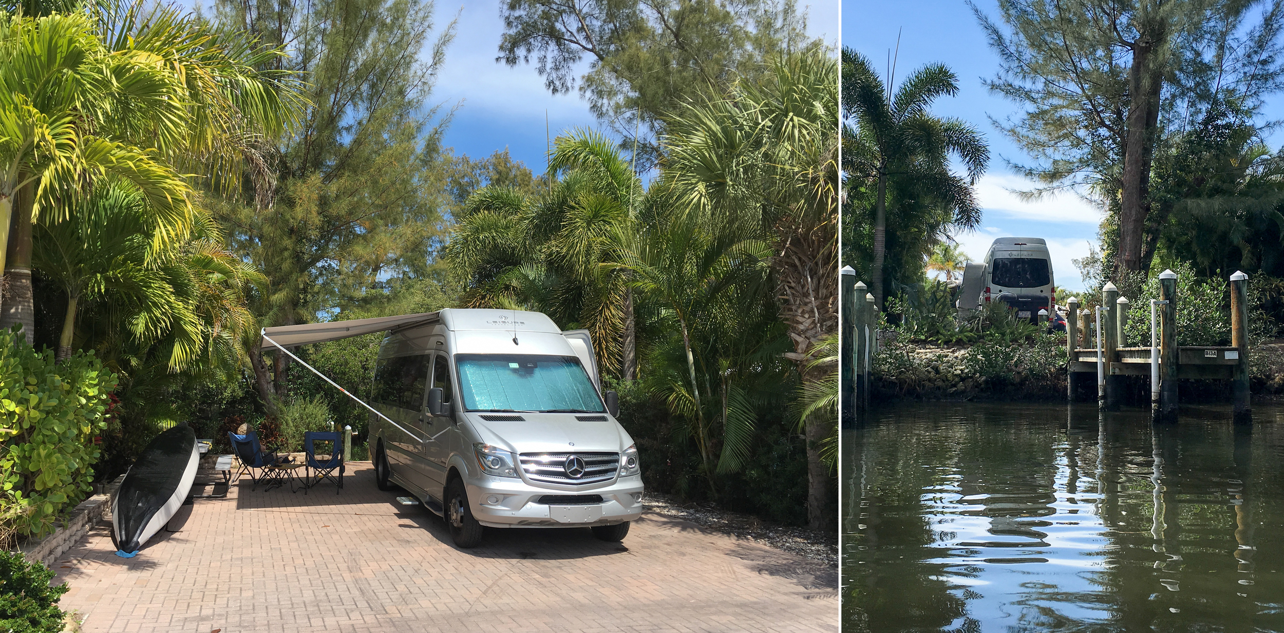 Land and water views of our campsite in Cortez, Florida