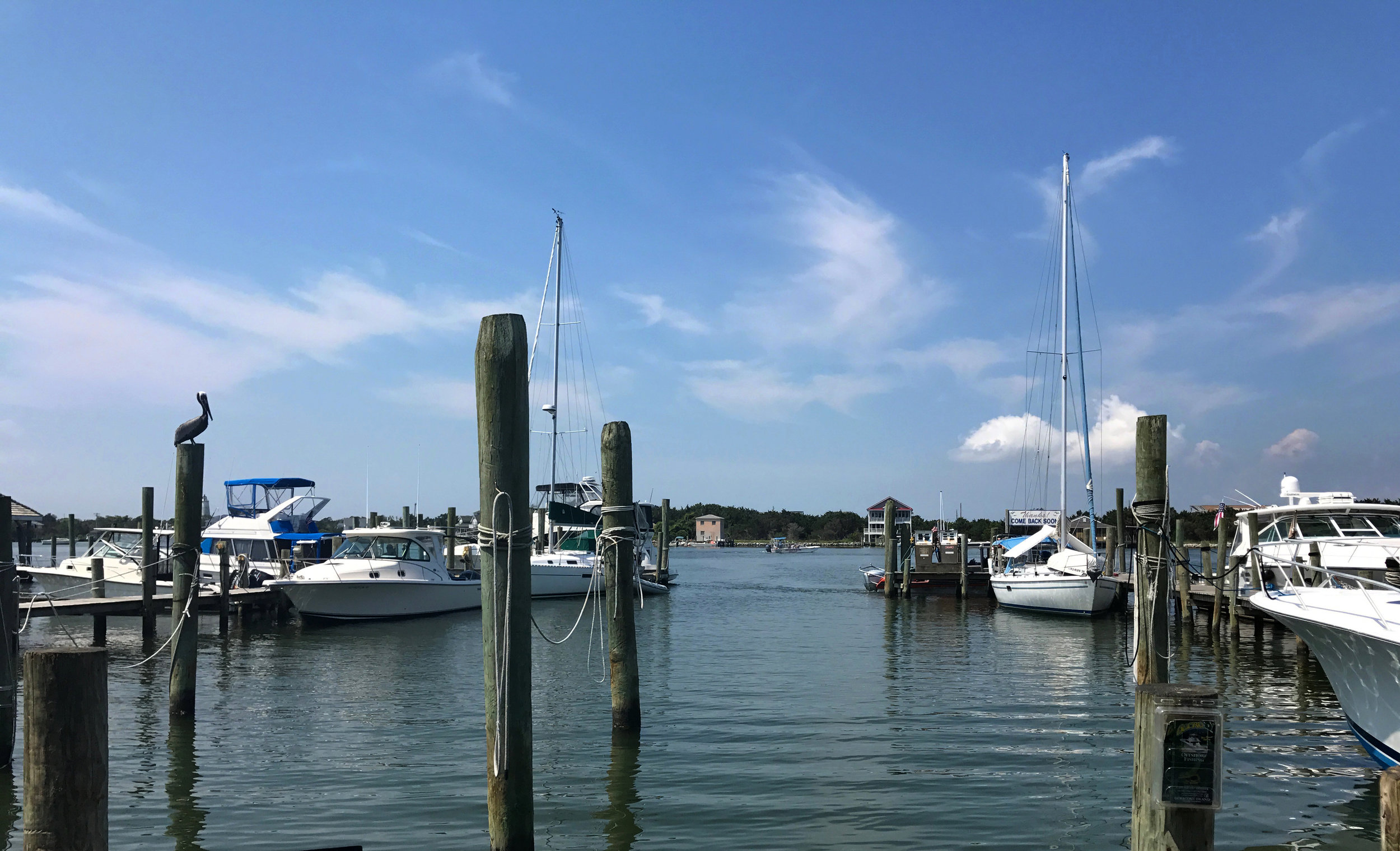 My lunchtime view of Silver Lake Harbor in Ocracoke Village