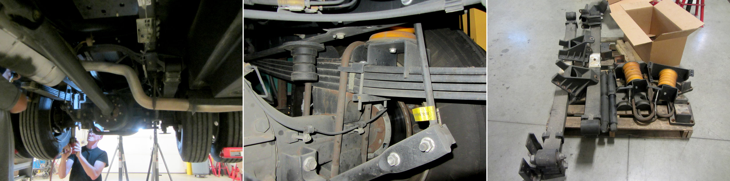 Disassembly begins, including removal of leaf springs, shock absorbers, and Sumo Springs (yellow)