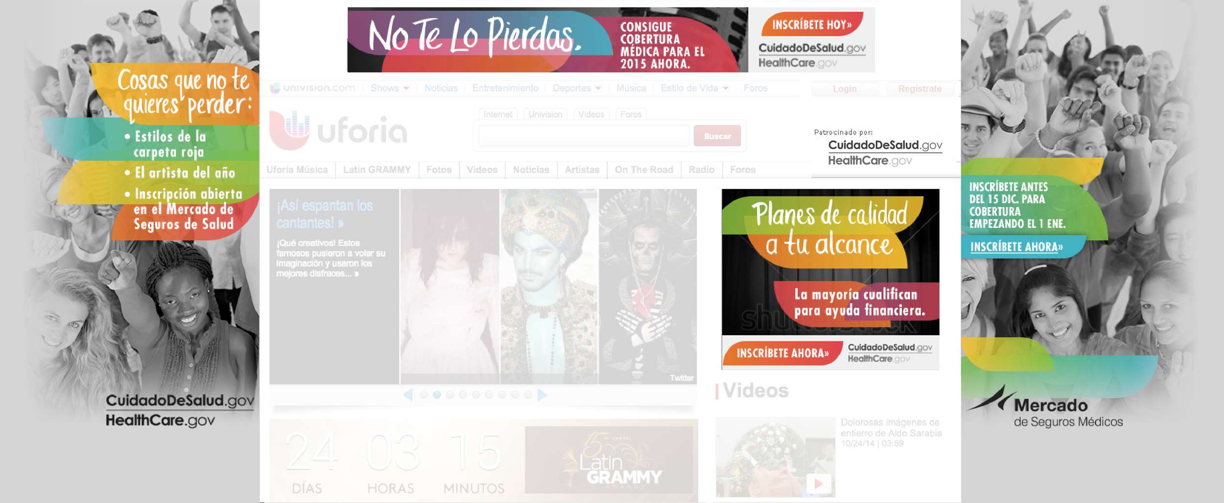 Univision page skinned for the Latin Grammys