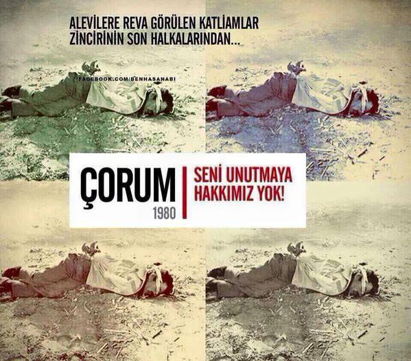 Çorum Katliamı anmalarında kullanılan bu fotoğrafın birinci olayların hemen ertesinde öldürülenülkücü/sağ grup üyesi Osman Aksu'nun fotoğrafı olduğuna dair bir bilgi var.