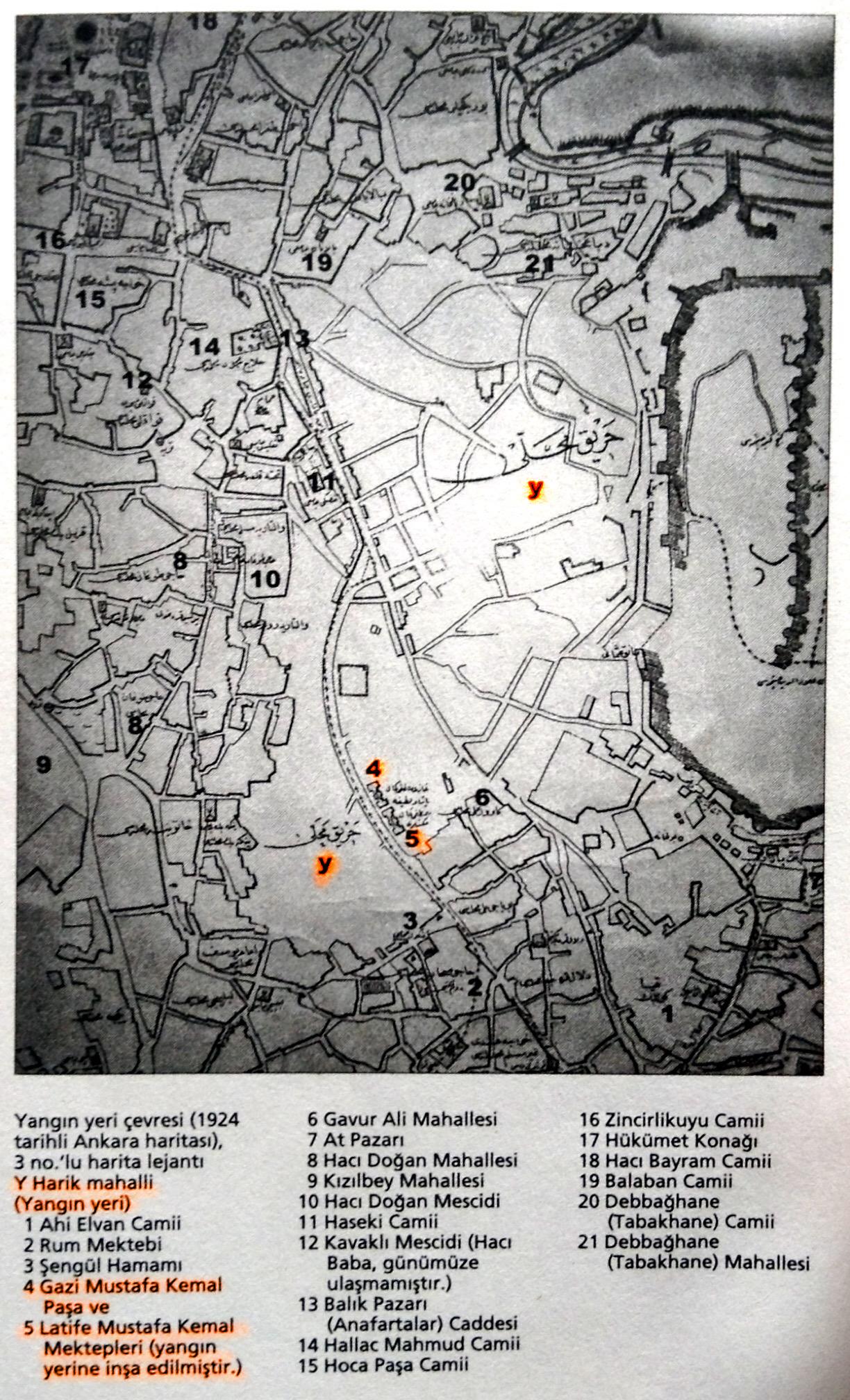 1924 Ankara Haritası ve lejantı.Kaynak:Taylan Esin ve Zeliha Etöz, 2015. 1916 Büyük Ankara Yangını: Felaketin Mantığı. İstanbul:İletişim Yayınları.