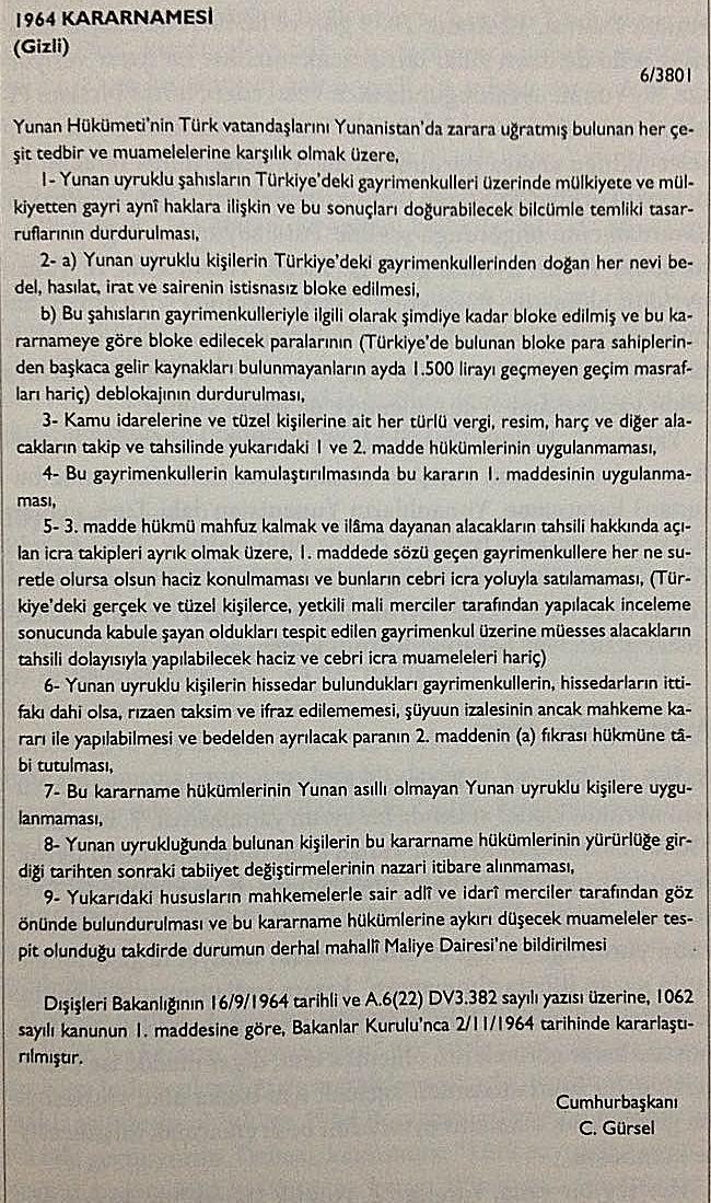 Yunan uyruğuna sahip Türk vatandaşlarının mülklerine el konulması-16 Eylül  1964 tarihli gizli kararname