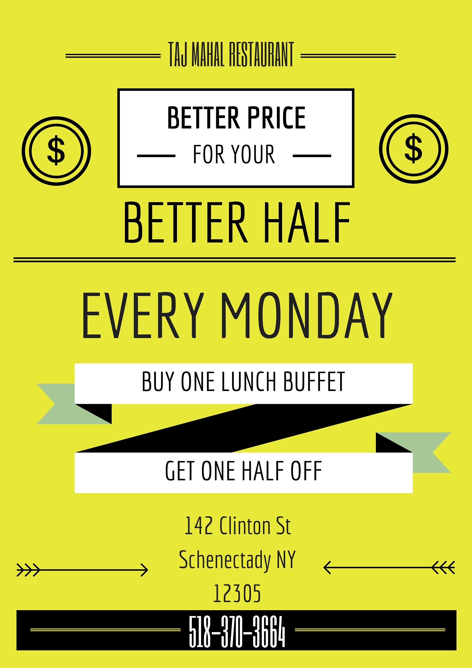 Every Monday buy one lunch buffet get one half off for a total of $15 flat for two people.