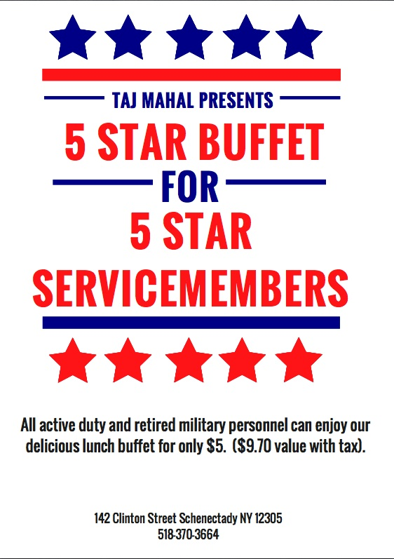 All active duty and retired military personnel can enjoy our delicious lunch buffet for only $5.