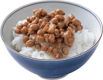 Rice topped with natto.