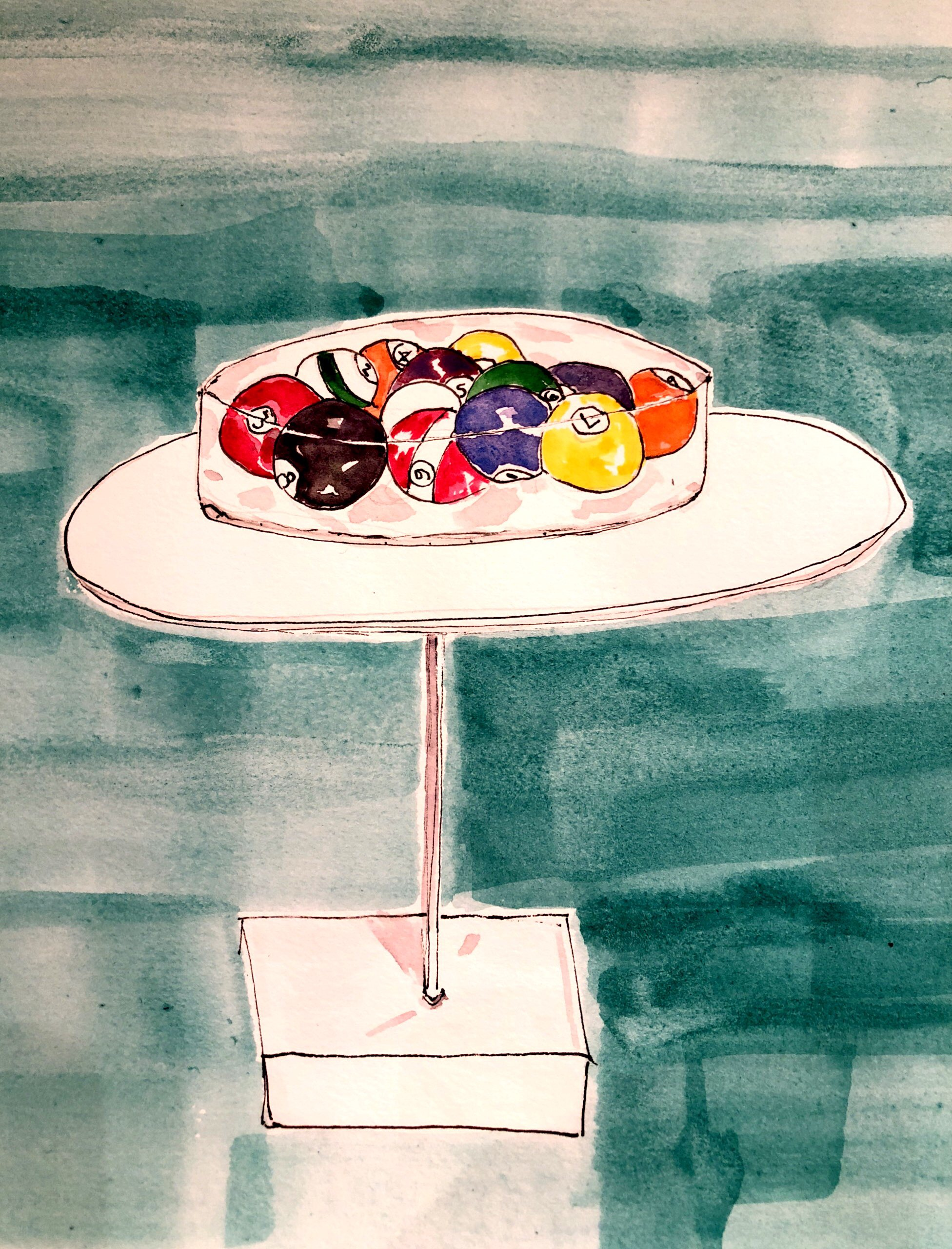 Billiard balls on display - drawing by Lisa Van Dusen
