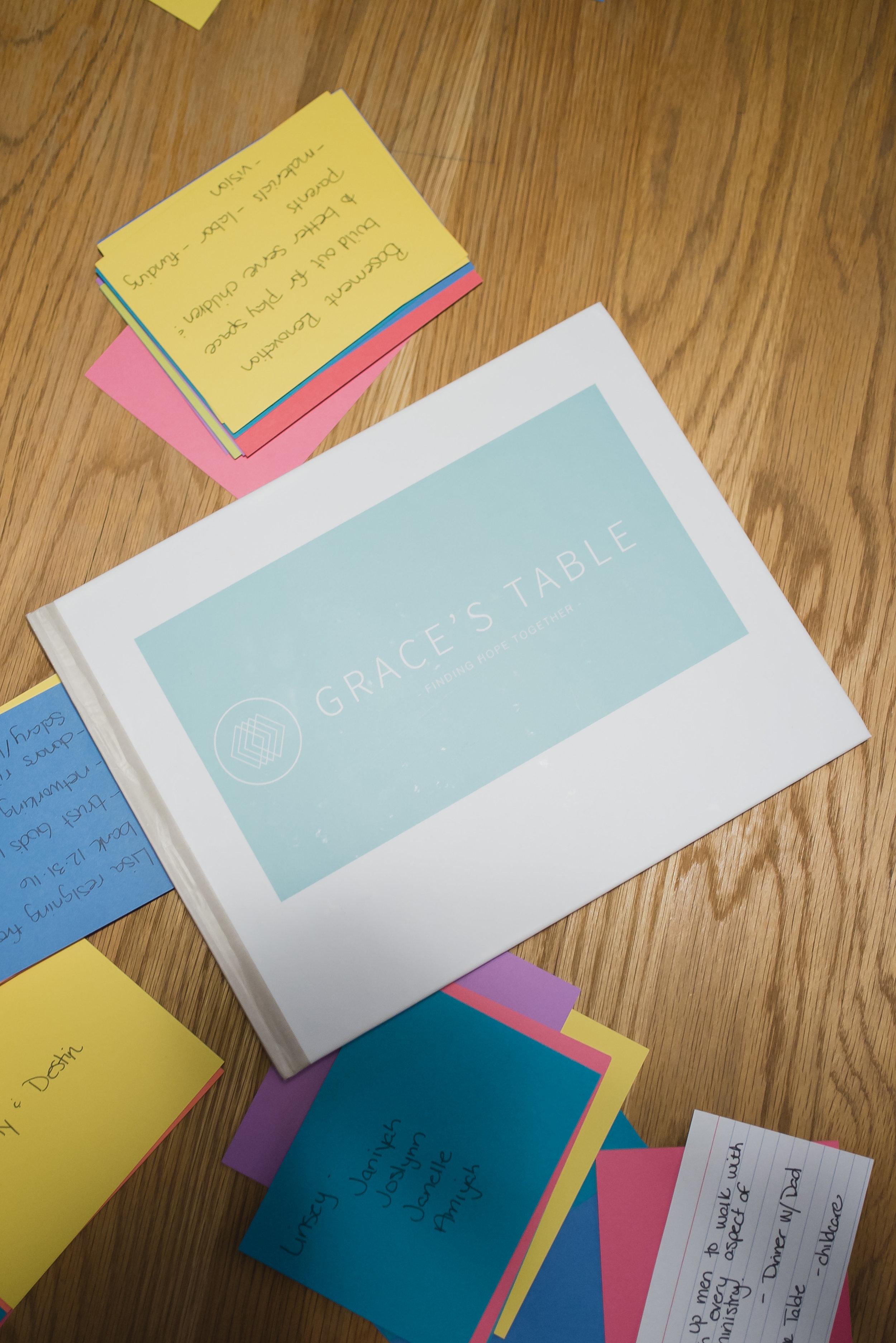 Notecards with prayer requests were placed on the table and one by one we prayed over them individually and together.